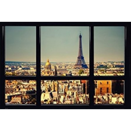 affiche poster plastifi paris tour eiffel fen tre. Black Bedroom Furniture Sets. Home Design Ideas