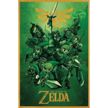 Affiche Poster Plastifié NINTENDO THE LEGEND OF ZELDA VERT
