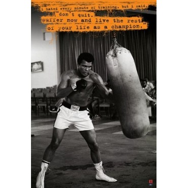 Affiche Poster Plastifié MOHAMED ALI PUNCHING BALL