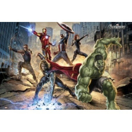 Affiche Poster Plastifié MARVEL COMICS THE AVENGERS ATTAQUE