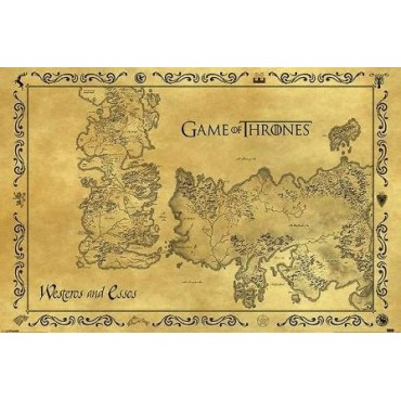 Affiche Poster Plastifié GAME OF THRONES CARTE ANTIQUE