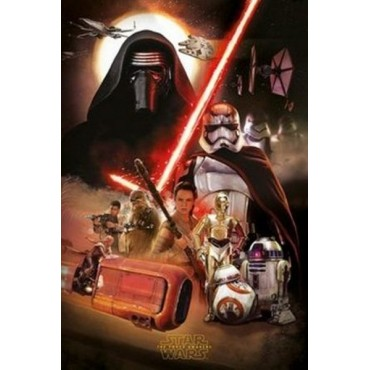 Affiche Poster Plastifié STAR WARS 7 FAMILY VERTICAL