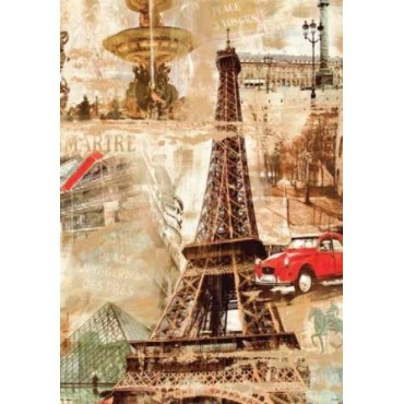 Affiche Poster Plastifié PARIS TOUR EIFFEL MELTING POT JAUNE