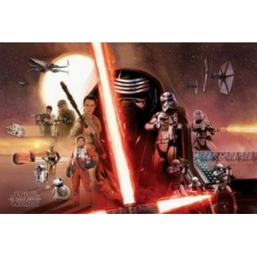 Affiche Poster Plastifié STAR WARS 7 FAMILY HORIZONTAL