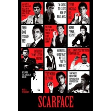 Affiche Poster Plastifié SCARFACE MULTI PHOTOS