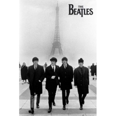 Affiche Poster Plastifié THE BEATLES À PARIS
