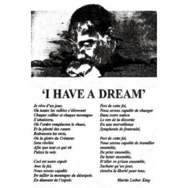 Affiche Poster Plastifié MARTIN LUTHER KING I HAVE A DREAM VERSION Française